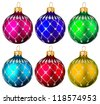 Set of Christmas tree toy isolated over white - stock photo