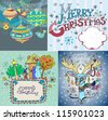 Set of color Christmas Cards for your design - stock photo