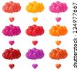 Set of colorful balloons bunches flying with valentine hearts - stock vector