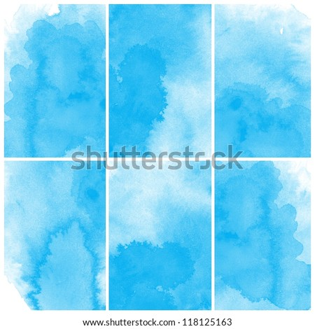 set of colorful blue Abstract watercolor art hand paint