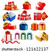 Set of colorful gift boxes with bows and ribbons. Raster version of vector - stock photo