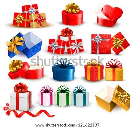 Set of colorful gift boxes with bows and ribbons. Raster version of vector