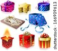 Set of colorful gift boxes with ribbons and bows isolated on white background. For eps file look id:42657061 - stock