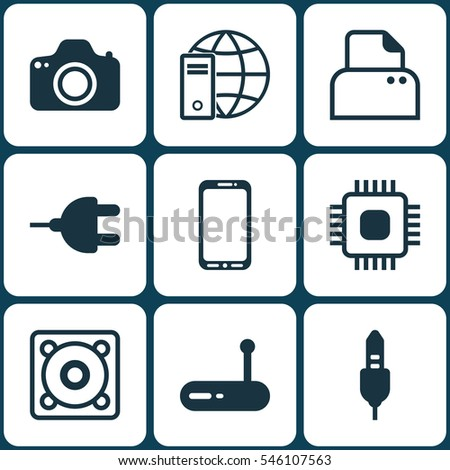 Set Of 9 Computer Hardware Icons. Includes Connector, Internet Network, Camera And Other Symbols. Beautiful Design Elements.