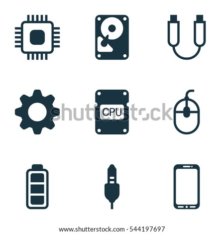 Set Of 9 Computer Hardware Icons. Includes Settings, Cpu, Aux Cord And Other Symbols. Beautiful Design Elements.