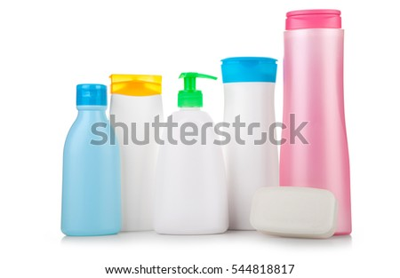 set of cosmetic products on a white background. Cosmetic package collection.