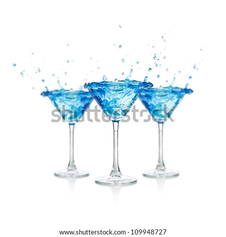 Set of curacao cocktail on white background