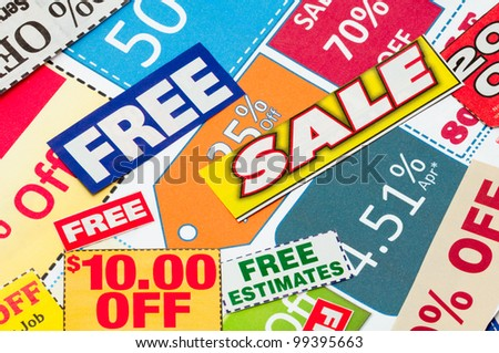 Set of cut coupons for shopping to save money.