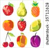 set of cute fresh fruits (look for this vector illustration in my portfolio) - stock vector