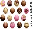 Set of decorated chocolate eggs (jpg); vector version also available - stock photo