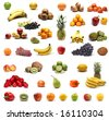 Set of different bright tasty fruits isolated on white - stock photo