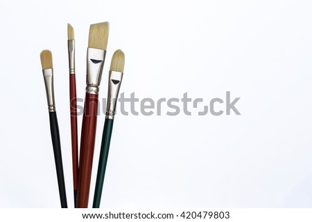 Set of different brushes isolated on white backgroud. Mock up