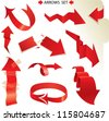 Set of different paper red arrows. Raster version - stock photo
