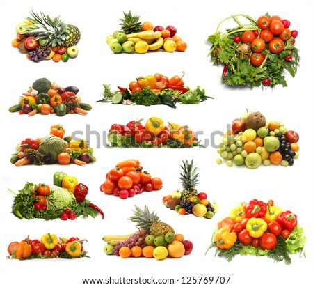 Set of different piles of fruits and vegetables over white background