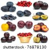 Set of different plums  isolated on the white background - stock photo
