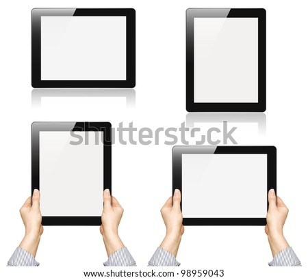 Set of digital tablet pc with businesswoman hands over white background. With clipping path.