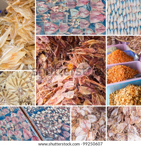 Set of Dried seafood product at market from Thailand.