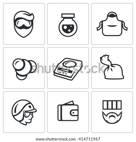 Set of Drug Dealer Labs Icons. Laboratory, methamphetamine, manufacture, synthesis, dosage, dose, police, selling, sentence. Prohibition of the production of narcotic drugs and inevitable punishment.