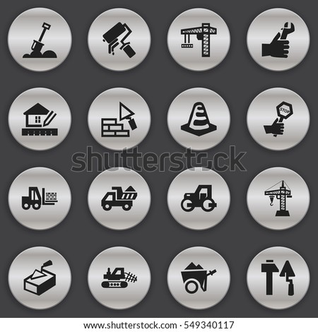 Set Of 16 Editable Building Icons. Includes Symbols Such As Construction Tools, Lifting Equipment, Notice Object And More. Can Be Used For Web, Mobile, UI And Infographic Design.