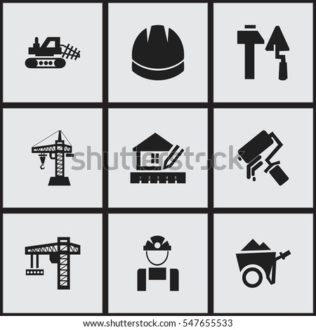 Set Of 9 Editable Building Icons. Includes Symbols Such As Scrub, Home ...
