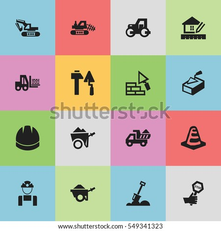 Set Of 16 Editable Construction Icons. Includes Symbols Such As Construction Tools, Trolley, Employee And More. Can Be Used For Web, Mobile, UI And Infographic Design.