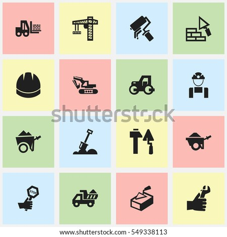 Set Of 16 Editable Structure Icons. Includes Symbols Such As Hardhat, Camion, Employee And More. Can Be Used For Web, Mobile, UI And Infographic Design.