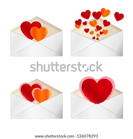 Set of envelopes to Valentine's Day. Vector illustration isolated on white