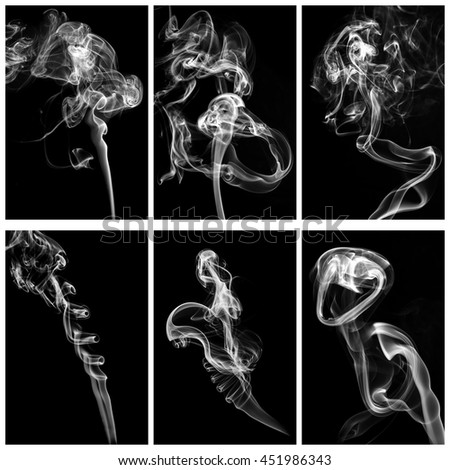 set of 6 examples of smoke on black background