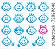 Set of faces with various emotion expressions. Funny Smileys. - stock photo
