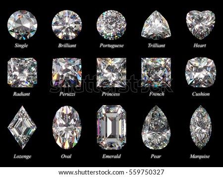 Set of fifteen sparkling water clear diamonds of various cut shape and design with their names.  Top view, isolated on black  background.  Photo-realistic 3D rendering illustration image
