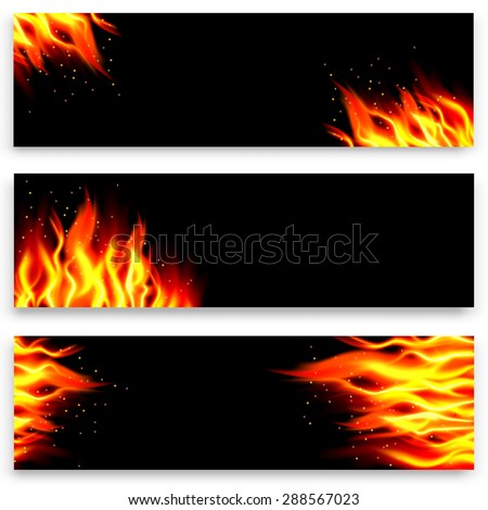 Set of fire banners.