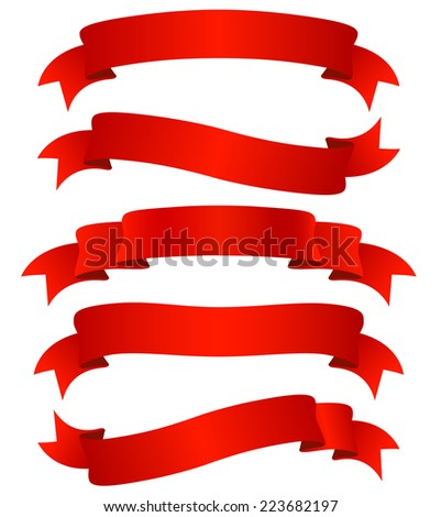 set of five curled red ribbons, illustration