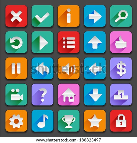 Set of flat game icons for your designs.