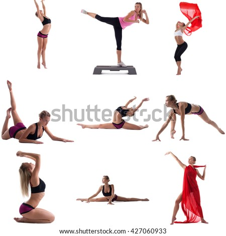 Set of girl engaged in aerobics. Isolated on white