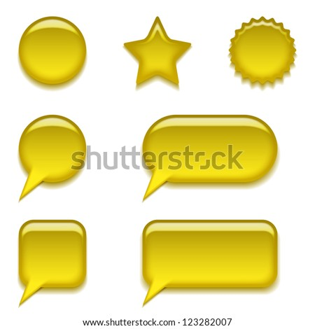 Set of glass yellow buttons, computer icons of different forms for web design, isolated on white background.  , contains transparencies