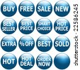 Set of glossy blue icons with promotional keywords. - stock vector
