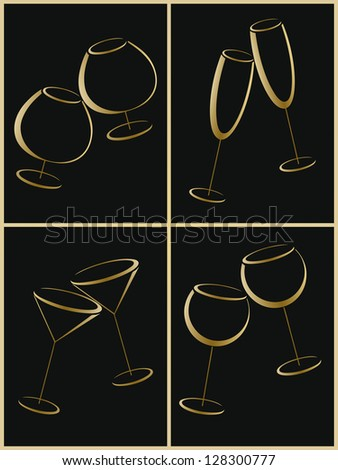 Set of gold glasses for alcohol drinks