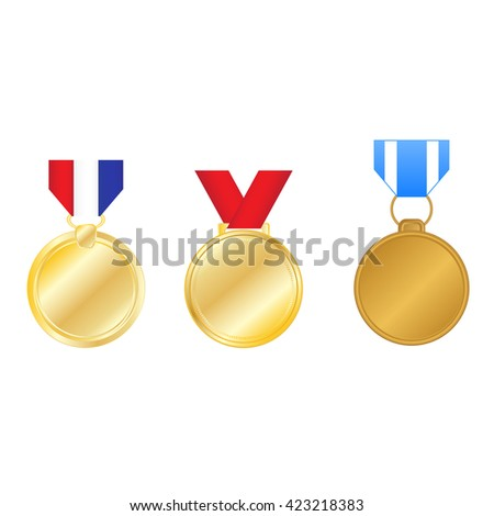 Set of golden medals