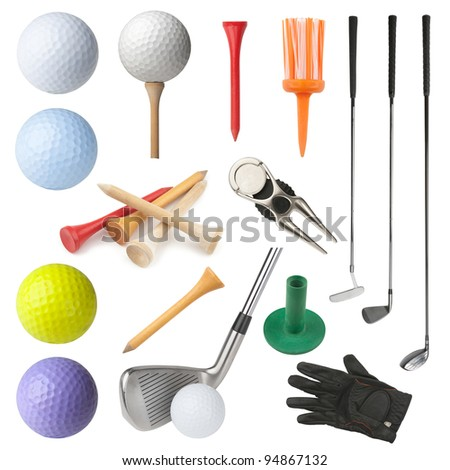 Set of golf equipment isolated on white background. Collection includes clubs, balls, tees, glove and divot repairing tool with ball marker.