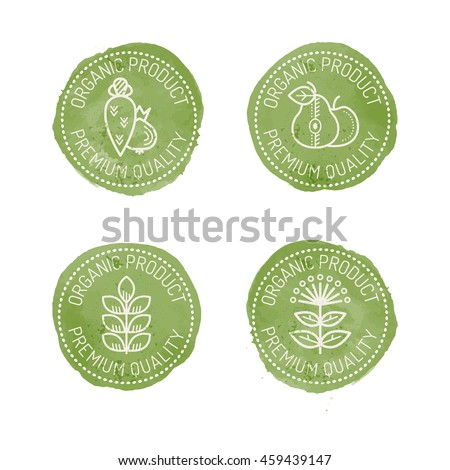 Set of green Food Badges for organic products - fruits, vegetables, herbals, cereals. Original design - stylized green stamp with a white text and linear style pictures. Premium quality