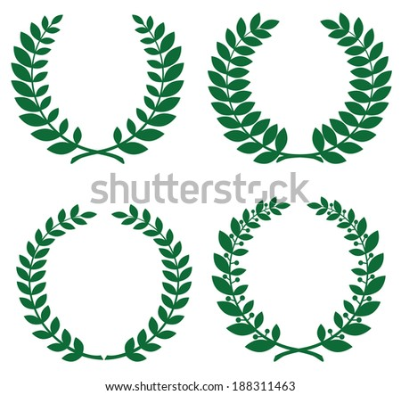Set of green laurel wreathes for design
