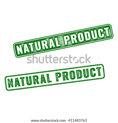 Set of green realistic Natural Product grunge rubber stamp isolated on white background.