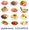 Set of group plates with food over white background - stock photo