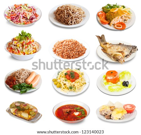 Set of group plates with food over white background