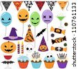 Set of Halloween party elements. Raster version. - stock vector