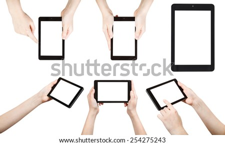 set of hands holding tablet pc with cut out screen isolated on white background