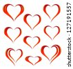 Set of heart icons - stock vector