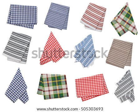 Set of kitchen napkins isolated on white background