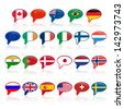set of  language bubble with flags, - stock vector