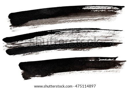 Set of long black brush strokes isolated over the white background